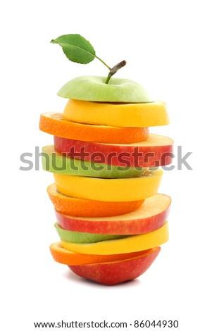 Mixed fruit apple orange lemon - stock photo