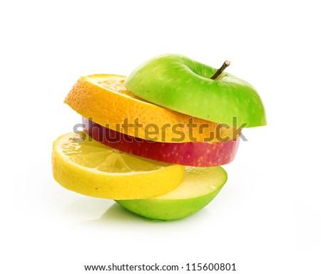 Mixed Fruit isolated on a white background - stock photo