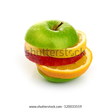 Mixed Fruit isolated on white background