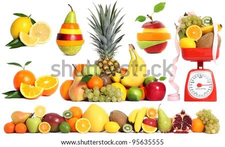 Mixed fruit set - stock photo