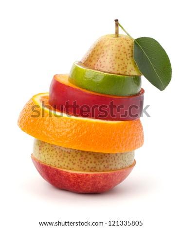 Mixed fruit slices isolated on white background - stock photo