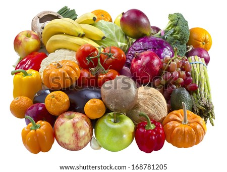 Mixed fruits and vegetables isolated on white background. - stock photo