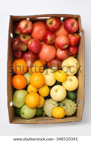 Mixed fruits background - stock photo