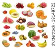 mixed fruits collection isolated on white background - stock photo