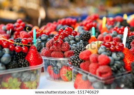 Mixed fruits in the marketplace - stock photo
