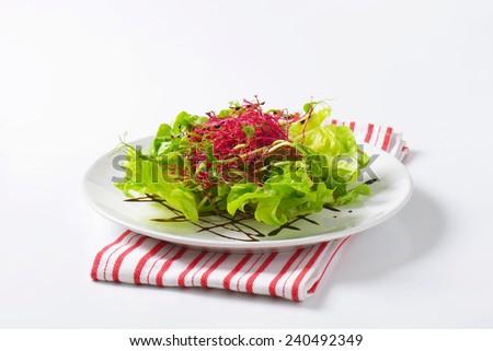Mixed green salad garnished with balsamic vinegar - stock photo