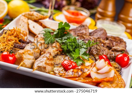 Mixed Grilled meat and vegetables - stock photo