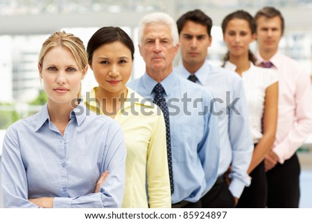 Mixed group business people - stock photo