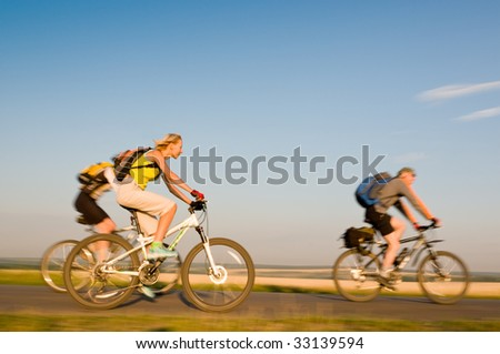 mixed group in motion - stock photo