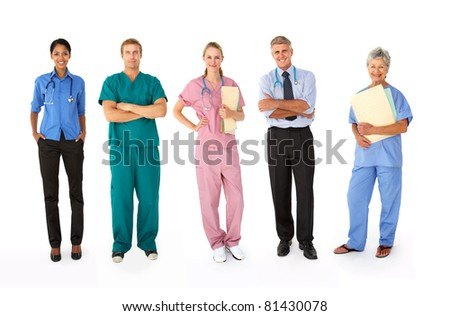 Mixed group of medical professionals - stock photo