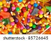 mixed halloween candy background - stock photo
