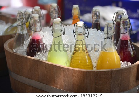Mixed Ice Cold Juice Bottle. - stock photo