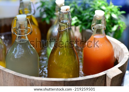 Mixed Ice Cold Juice Bottle - stock photo