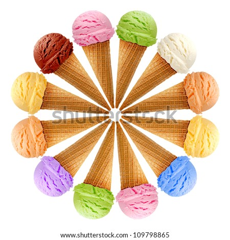 Mixed ice creams in cones on white background - stock photo