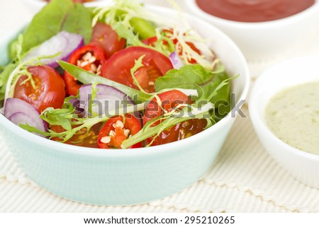Mixed Leaf & Vegetable Summer Salad - Salad with tomatoes, rocket, lettuce, red onions and peppers and dressing on the side. - stock photo