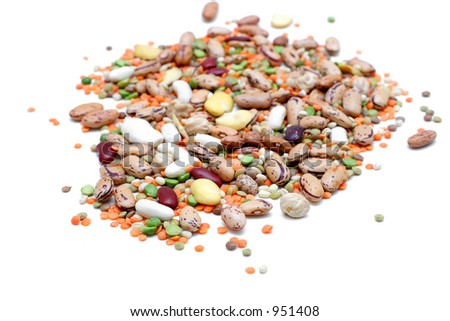 Mixed legumes: peas, lentils, beans and chickpeas - stock photo