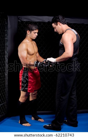 Mixed martial artist before a fight - stock photo