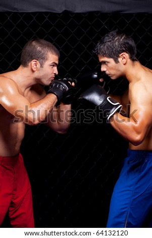 Mixed martial artists before a fight - stock photo