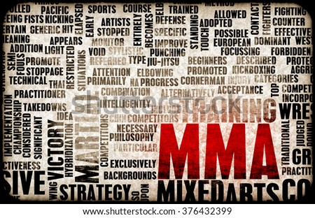 Mixed Martial Arts or MMA as a Grunge Concept Background