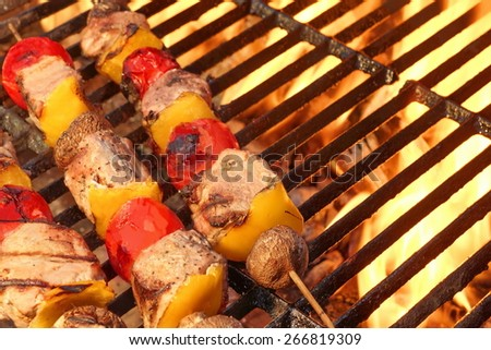 Mixed Meat And Vegetable Kebabs On The Hot BBQ Grill Closeup. Flaming  Charcoal Grill In The Background. Snack For Outdoor Summer Party. - stock photo