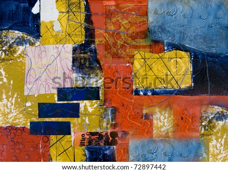 Mixed media abstract painting with rectangles - stock photo