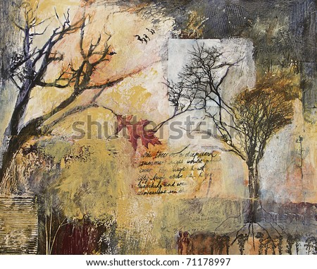 Mixed media abstract painting with tree and branches - stock photo