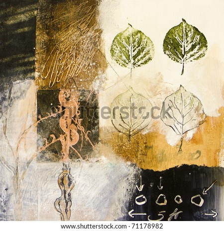 Mixed media acrylic painting with leaves - stock photo