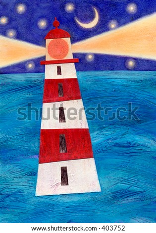 Mixed media collage of a lighthouse; an original artwork by the artist. - stock photo