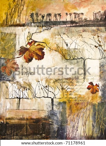 Mixed media collage painting of vines and vine leaves - stock photo