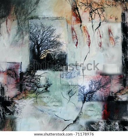 Mixed media layered painting with branches and leaves - stock photo