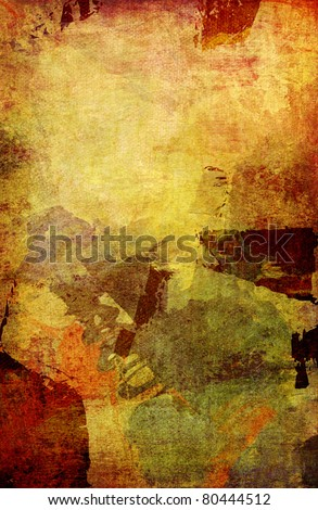 mixed media on canvas structure - fall colors - stock photo