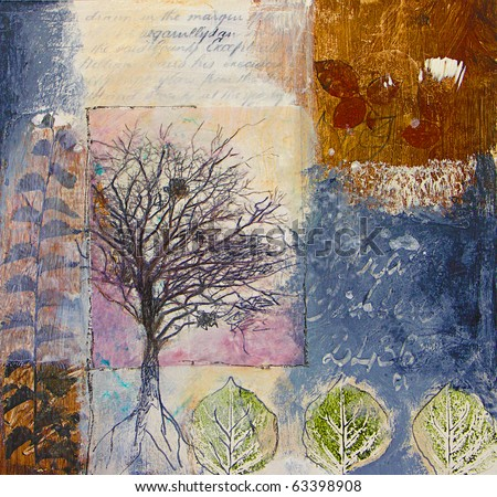 Mixed media painting of winter tree and leaves in abstract style. All elements created by the photographer. - stock photo