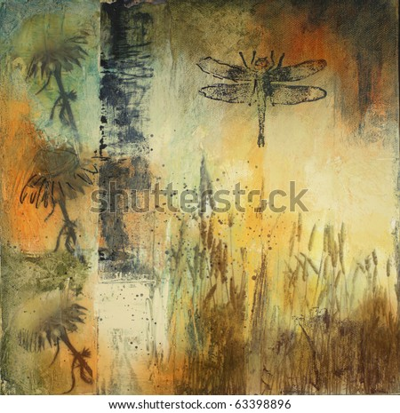 Mixed media painting on canvas with flowers, reeds, and dragonfly. All elements created by the photographer. - stock photo