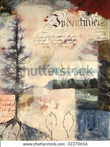 Mixed media painting with photographs of trees in winter - stock photo