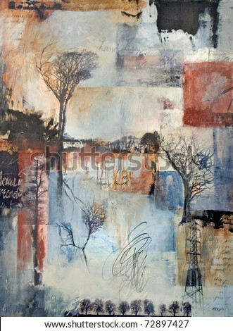Mixed media painting with trees - stock photo