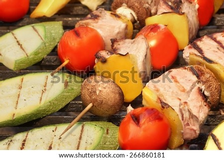 Mixed Meet And Vegetables Kebabs BBQ On Hot Grill  - stock photo