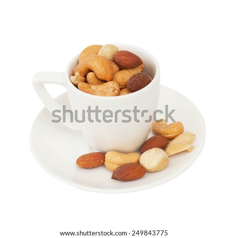 Mixed nut isolated on the white background - stock photo