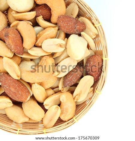mixed nut on white background - stock photo