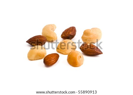 Mixed Nuts (almond, cashew, macadamia) arranged in circle with white background - stock photo