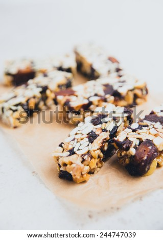 Mixed Nuts and Dried Fruit Bars - stock photo