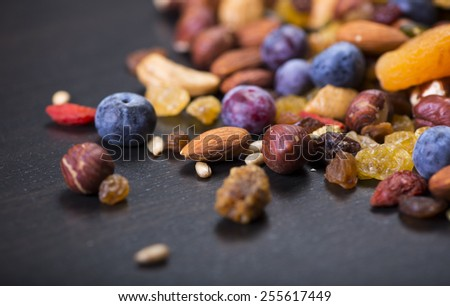 Mixed nuts and dry fruits - stock photo