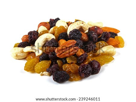 mixed nuts and raisins isolated on white - stock photo