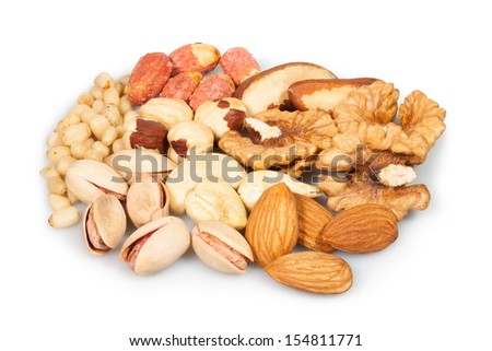 mixed nuts group on white background - stock photo