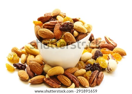 Mixed nuts isolated on white - stock photo