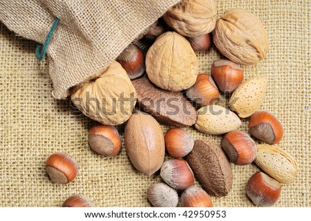 Mixed Nuts on Burlap