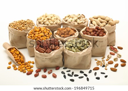 mixed nuts white background - stock photo