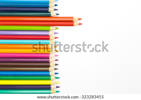 Mixed of colours wooden pencils on white background - stock photo