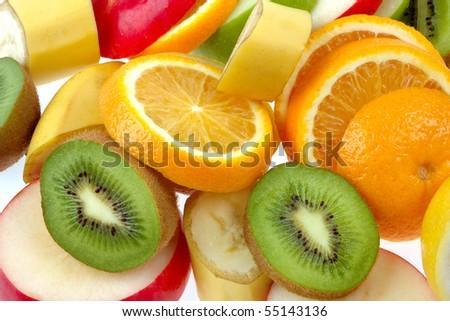 Mixed of fresh fruits - stock photo