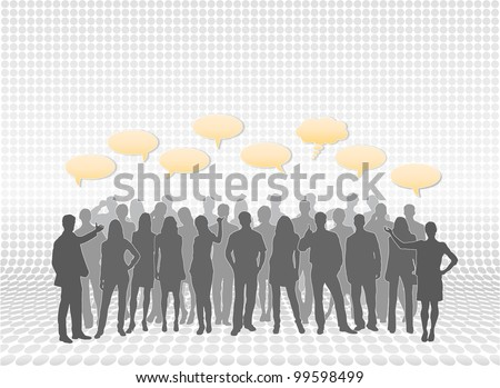 Mixed people silhouettes in layers with text call-outs. People vectors are separate from each other for easy editing and modifications - stock photo