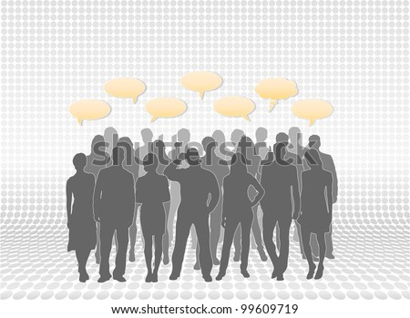 Mixed people silhouettes in layers with text callouts. People vectors are separate from each other for easy editing and modifications - stock photo